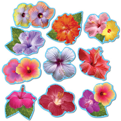 Mini Hibiscus Cutouts 4.5-5.5in 10ct