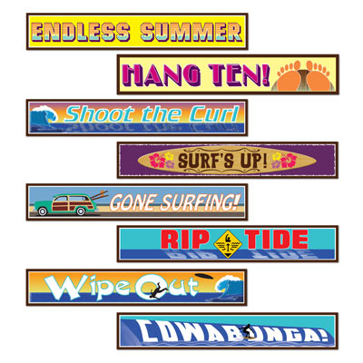 Surfer Street Sign Cutouts 4x24in 4ct