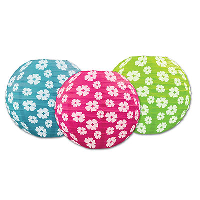 Hibiscus Paper Lanterns 9.5in 3ct