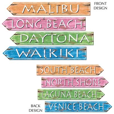 Beach Sign Cutouts 4x24in 4ct