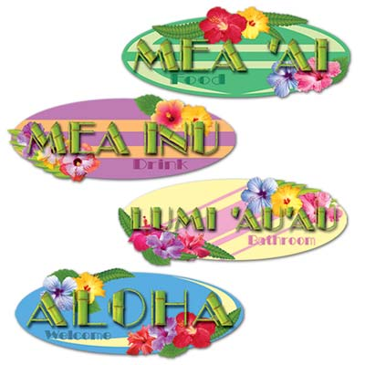 Hawaiian Sign Cutouts 14in 4ct