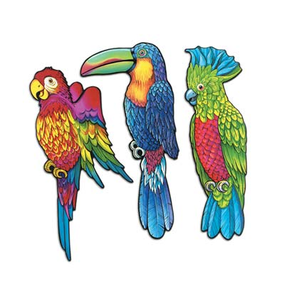 Pkgd Exotic Bird Cutouts 17 in