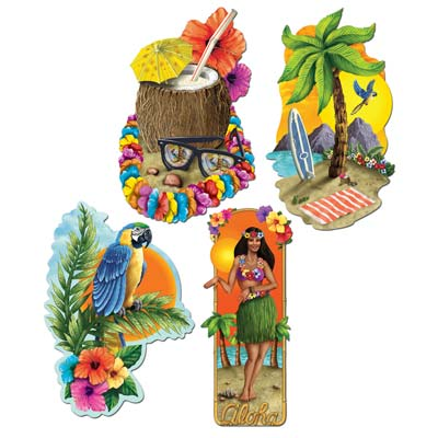 Luau Party Cutouts 20in