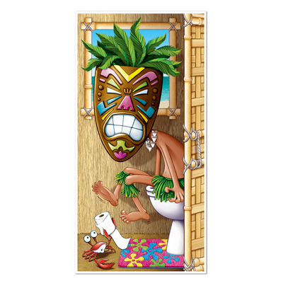 Tiki Man Restroom Door Cover 30in x 5ft