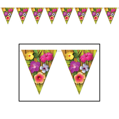 Luau Pennant Banner 10 in x 12 ft