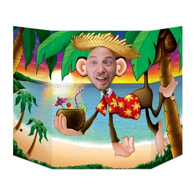 Luau Monkey Photo Prop 3'ft 1in x 25in