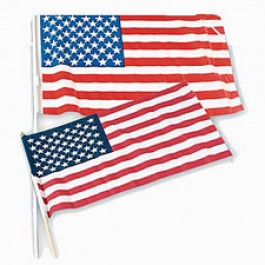 USA Flags - Cloth 8in x 12in - 12ct Made in the USA