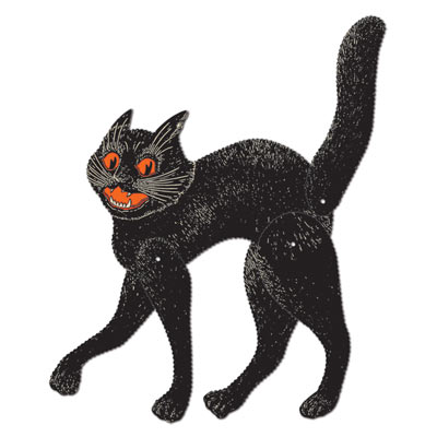 Vintage Halloween Jointed Scratch Cat 20.5in