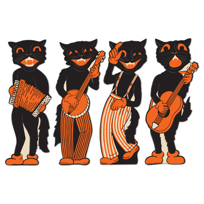 Vintage Halloween Scat Cat Band Cutouts 17in