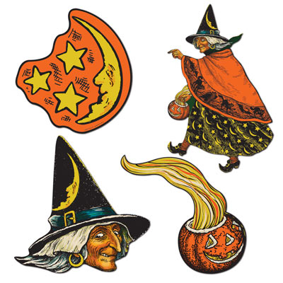 Vintage Halloween Cutouts 6.5 - 10.5 Inches