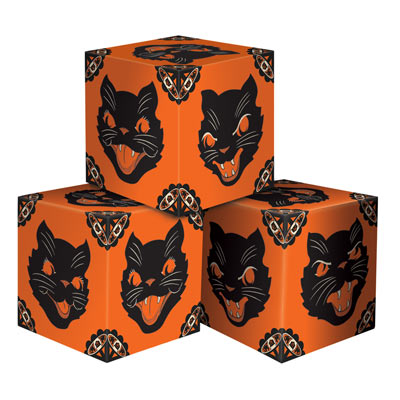 Vintage Halloween Cat Favor Boxes 3 x 3 Inches