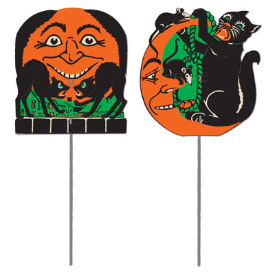 Vintage Scratch Cat and Moon Yard Signs 5 x 5 Inches