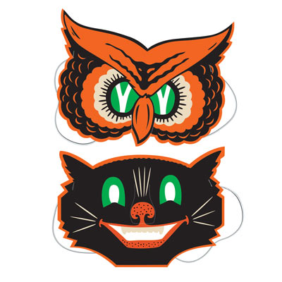 Vintage Halloween Owl & Cat Masks 9 Inches