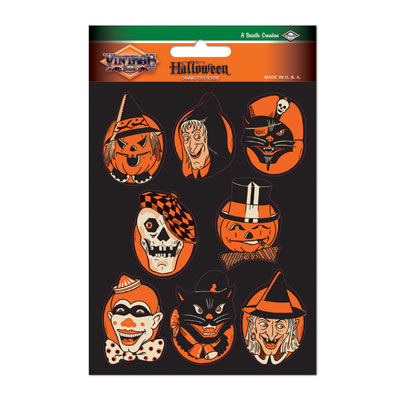 Vintage Halloween Character Stickers 4 x 6in 2ct