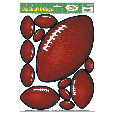Football Clings 12x17in Sheet