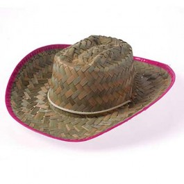 Children's Woven Cowgirl Hat with Pink Trim