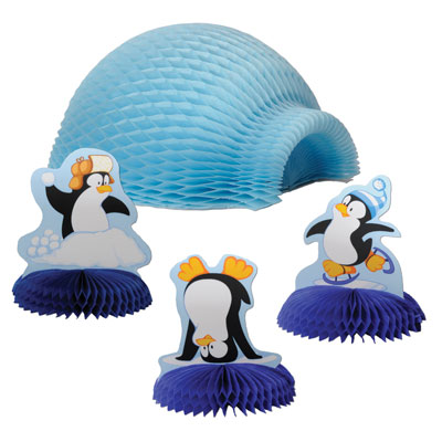 Tabletop Igloo with Penguins 4in & 9in