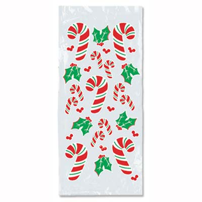 Candy Cane & Holly Cello Bags 4 x 9 x 2in