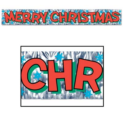 Metallic Merry Christmas Fringe Banner 8in x 5ft