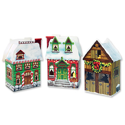 Christmas Village Favor Boxes 3.75 x 6.75in