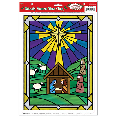 Nativity Stained Glass Cling 12x17in Sheet