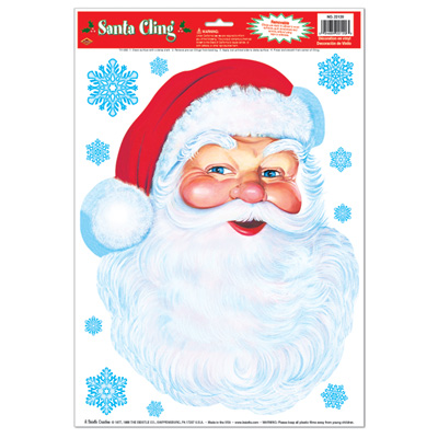 Santa Face Cling 12x17in Sheet