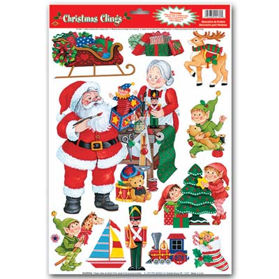 Santa's Workshop Clings 12x17in Sheet