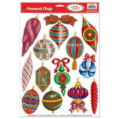 Christmas Ornament Clings 12x17in Sheet