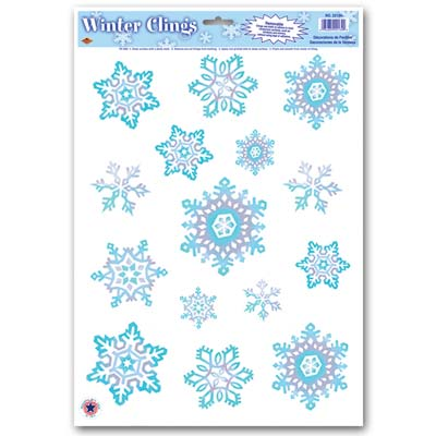 Crystal Snowflake Clings 12x17in Sheet