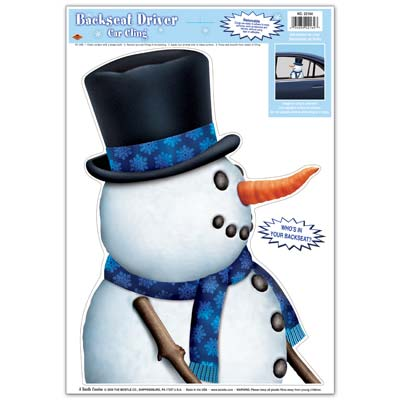 Snowman Car Cling 12x17in Sheet