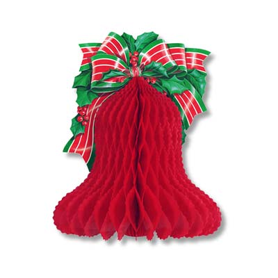 Red Tissue Bell with Printed Bow & Holly 10in