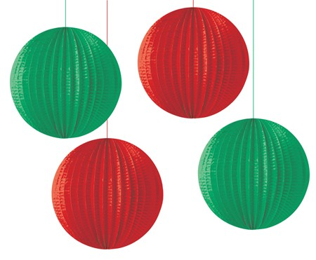 Red & Green 6.5in Assorted Solid Lanterns