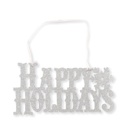 Holidays Glitter Sign with Ribbon
