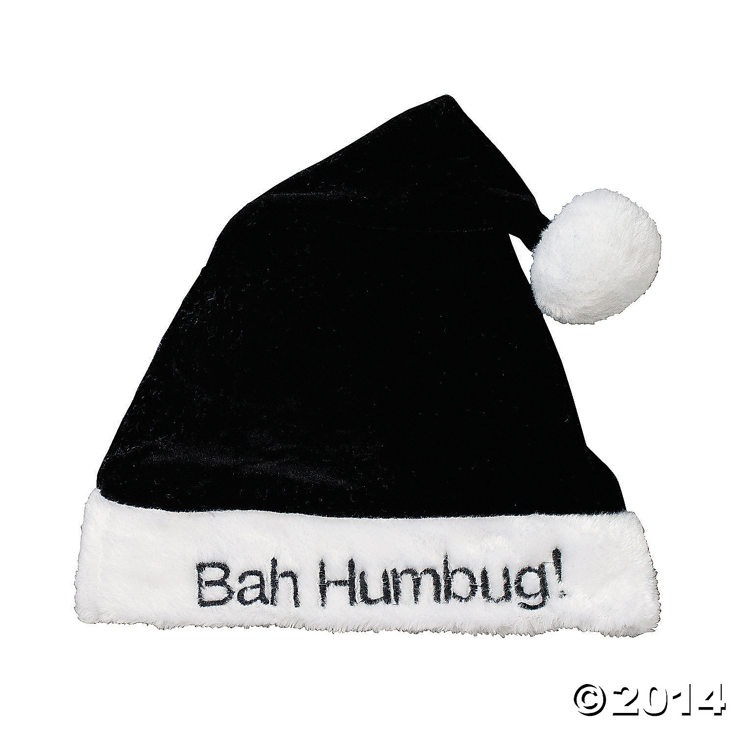 Black Velour Bah Humbug Santa Hat