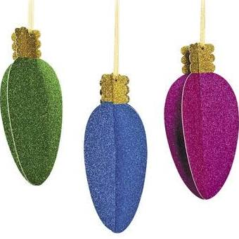 Large Glittered Christmas Light Hanging Decorations