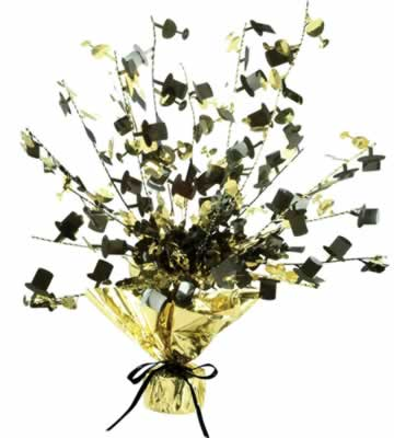 Champagne Glass & Top Hat Centerpiece 15in black & gold