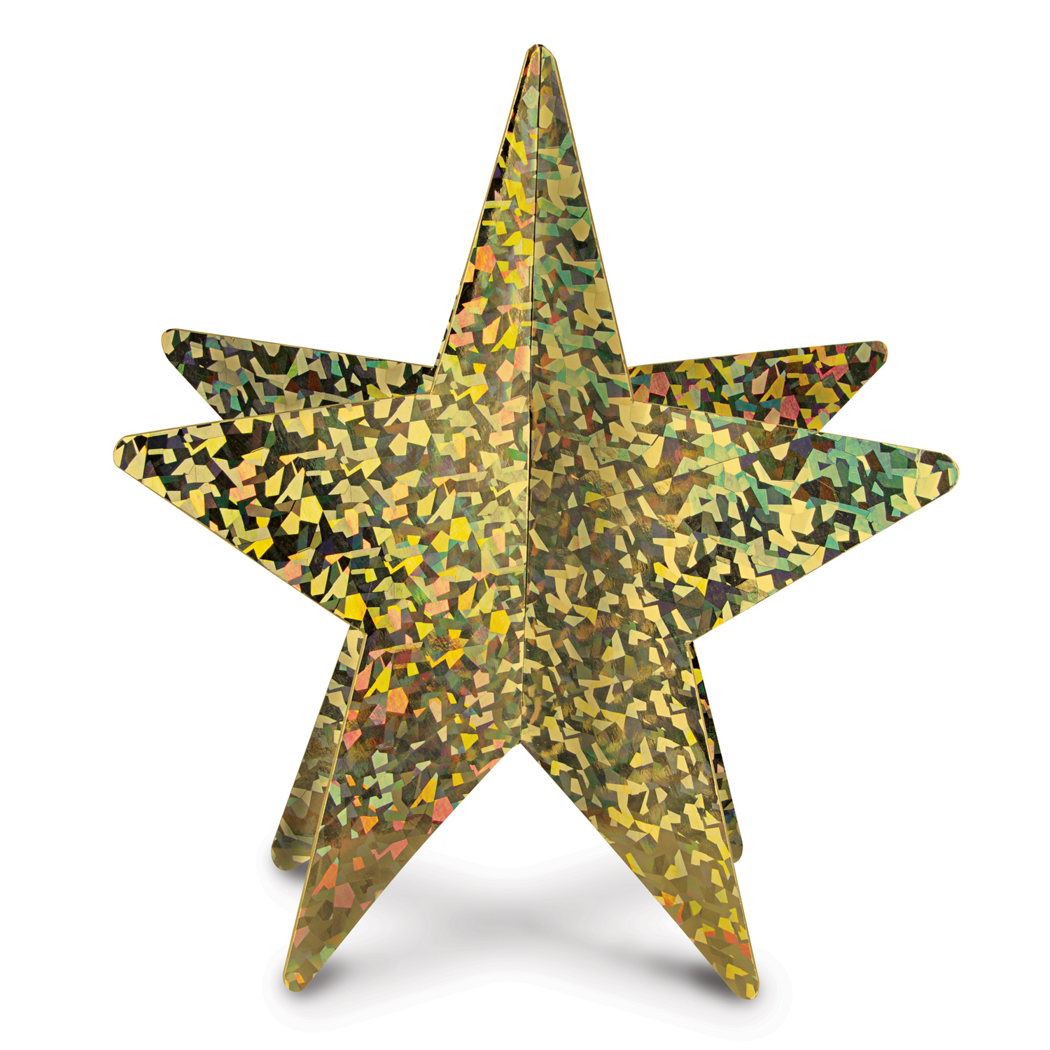 3-D Prismatic Star Centerpiece 12in gold