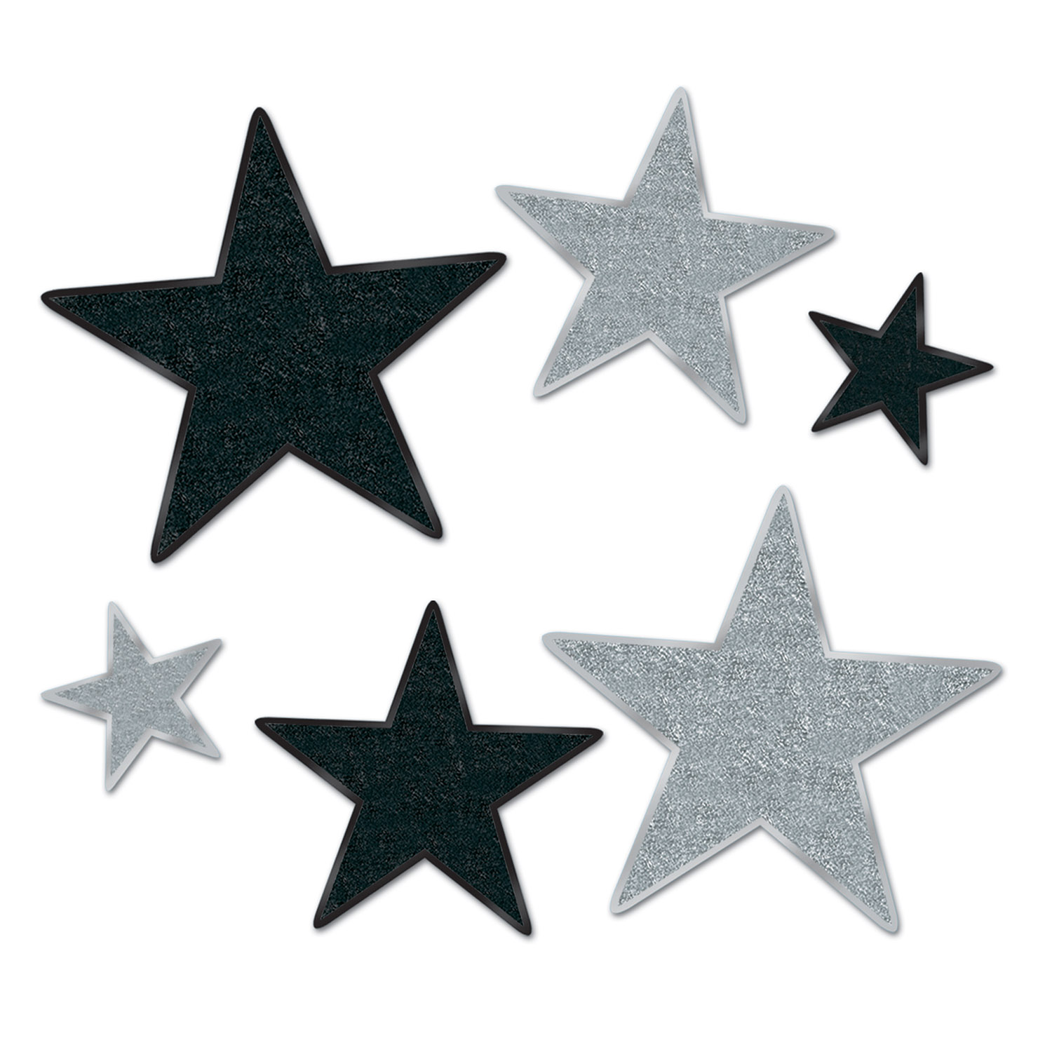 Glittered Star Cutouts Asstd asstd black & silver