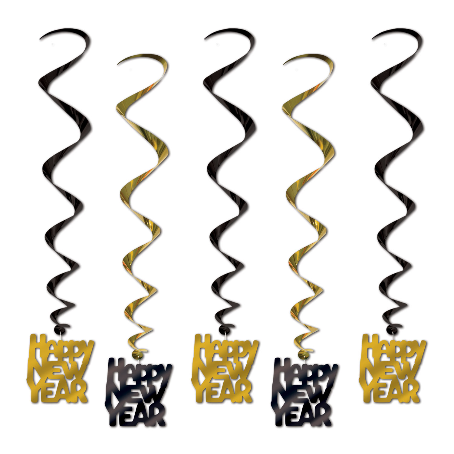Happy New Year Whirls 33in black & gold 5 Ct