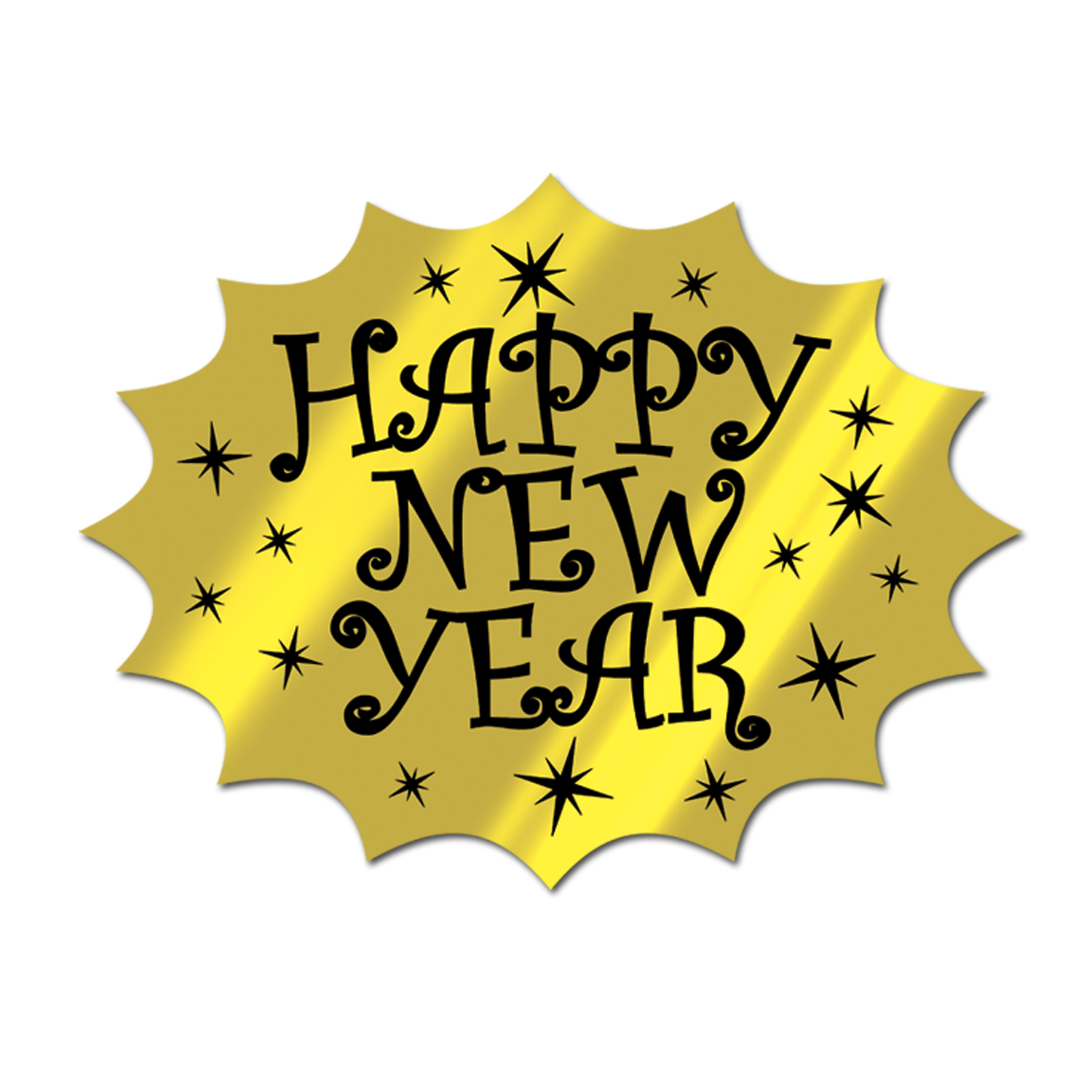 Foil Happy New Year Cutout 14.75in black & gold