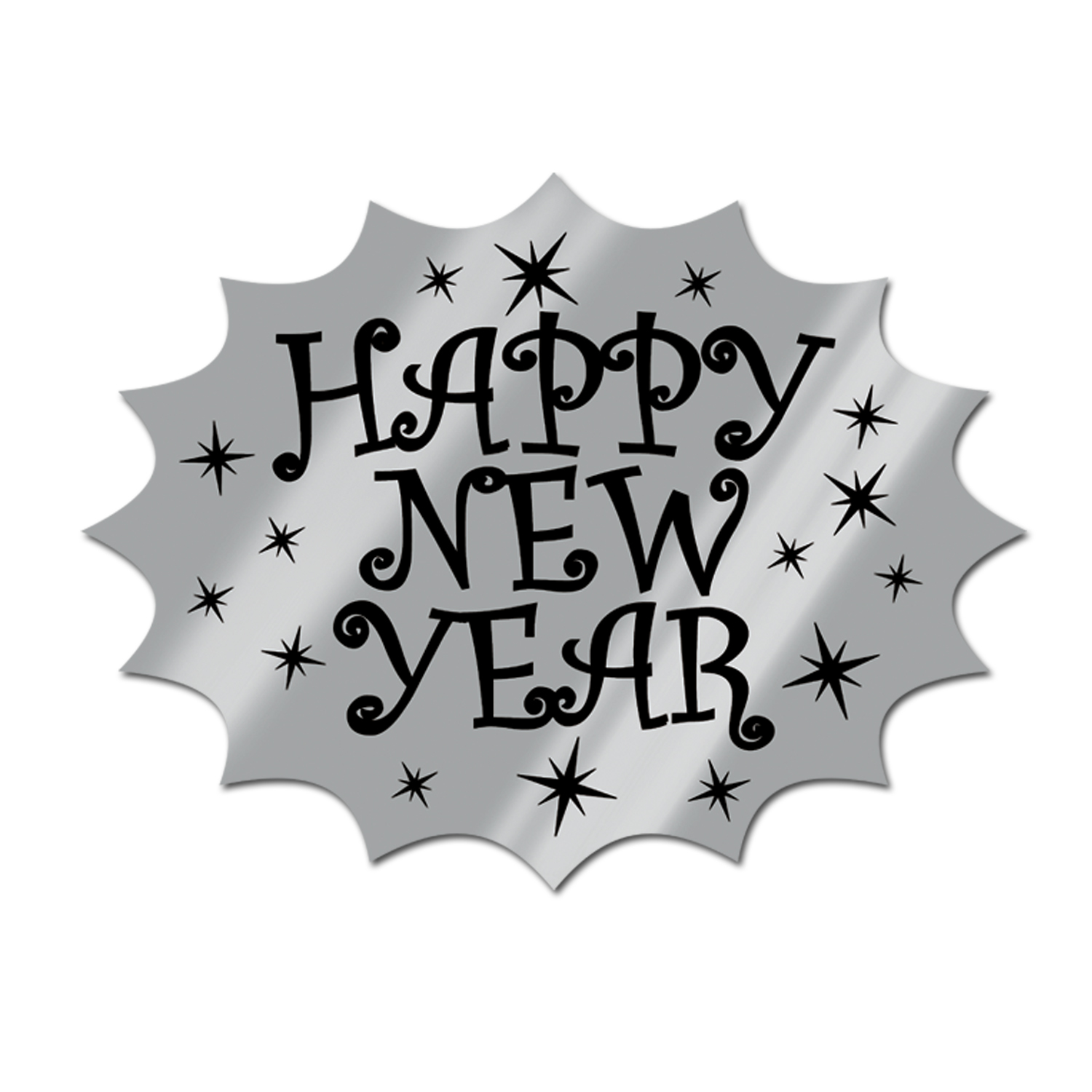 Foil Happy New Year Cutout 14.75 black & silver
