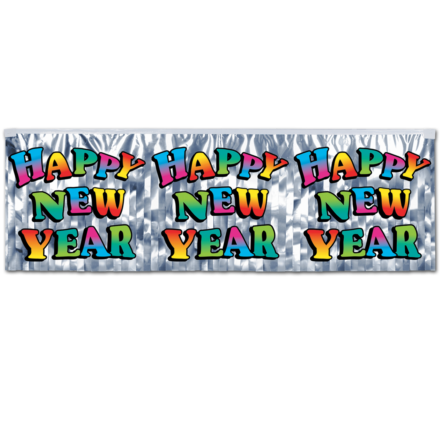 FR Metallic Happy New Year Fringe Banner 14in x 4ft multi-color