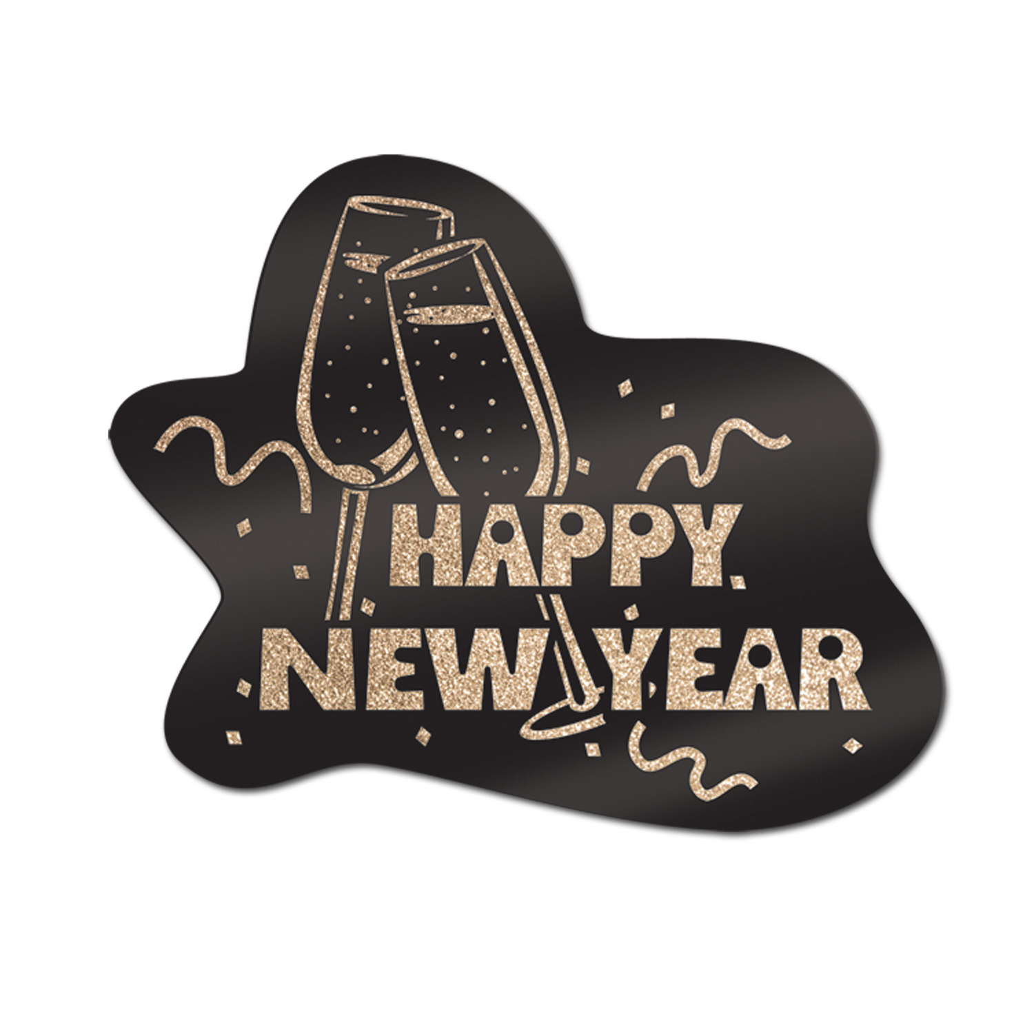 Glittered Happy New Year Sign 15x18in black & gold