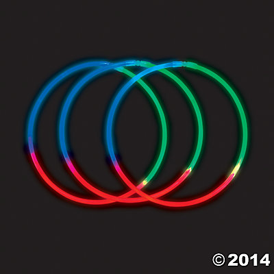 Plastic Green Blue and Red Premium Tri-Color Glow Necklaces
