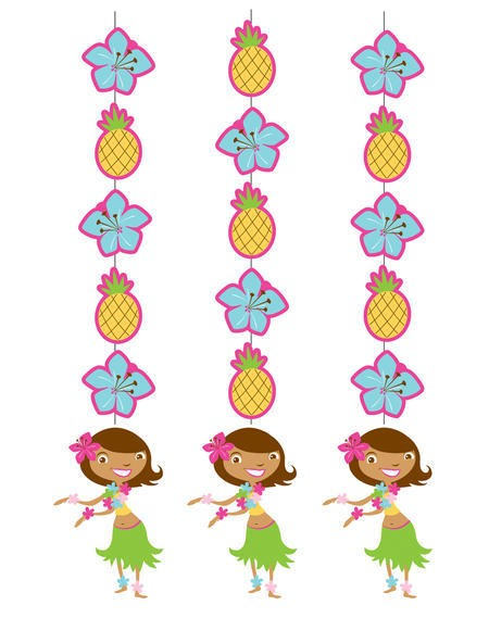 Pink Luau Fun Hanging Cutouts