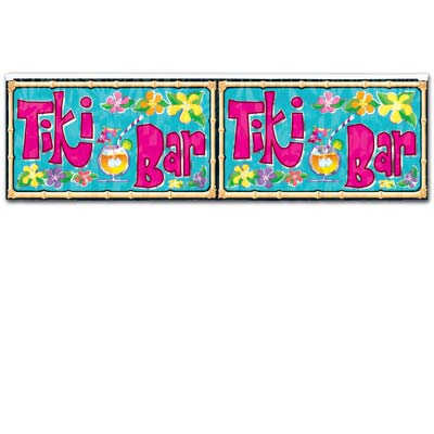 Metallic Tiki Bar Fringe Banner 14in x 4ft