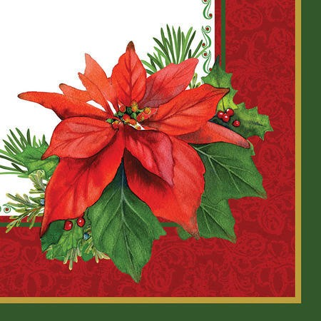 Holiday Poinsettia 3-Ply Beverage Napkins