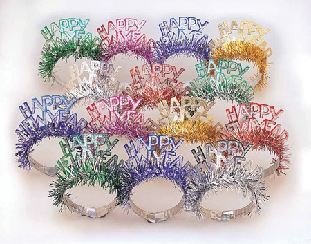 New Year Foil Tiaras with Fringe