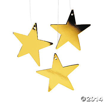 Cardboard Small Gold Metallic Stars - 5in
