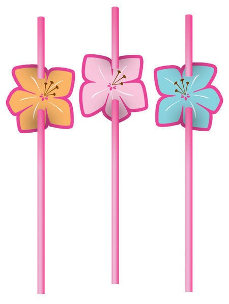 Pink Luau Fun Attachment on Straws